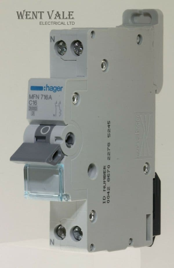 Hager MFN716-431845 - 16a Type C Single Pole plus Neutral MCB Unused